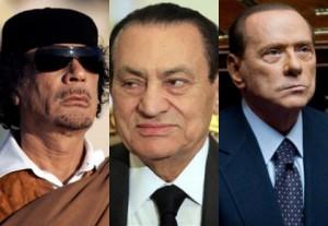 Gadafi, Mubarak y Berlusconi