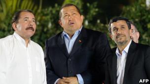 Ortega, Chávez y Admadinejhad