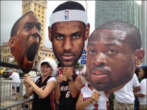 Fanaticos celebran victoria del Heat
