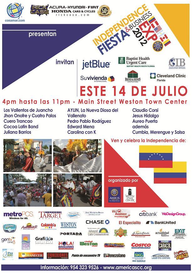Colombia y Venezuela celebran su fiesta de independencia este sábado en Weston
