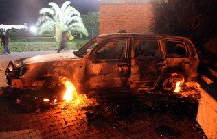 Carro en llamas en Bensagi